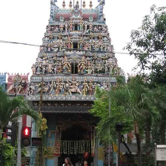 Sri Veeramakaliamman Temple is a main attraction in Little India.