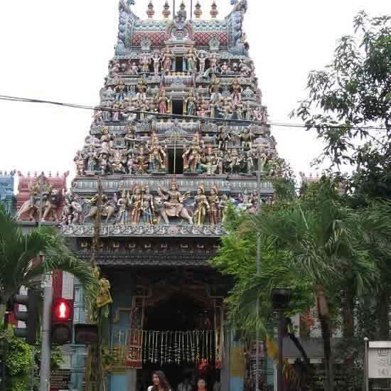 Sri Veeramakaliamman Temple is a main attraction in Little India.